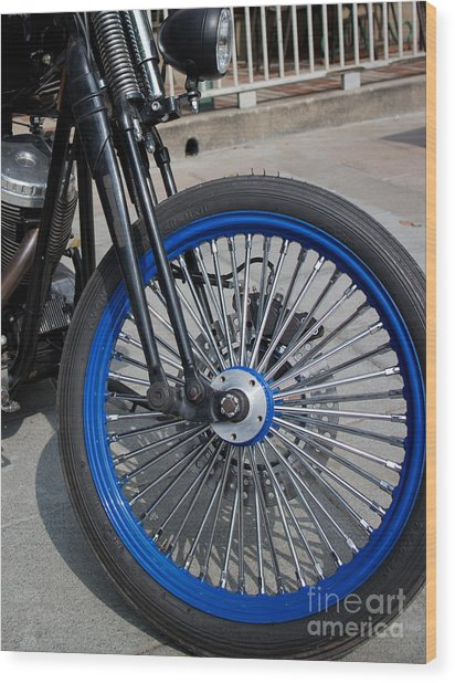 Front Wheel With Blue Rims And Fat Chrome Spokes Of Vintage Styl Wood Print