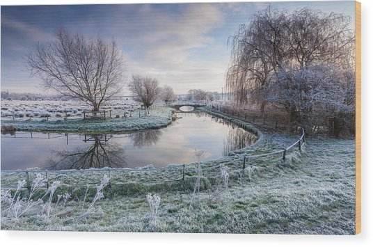 Frost On The Marshes Wood Print