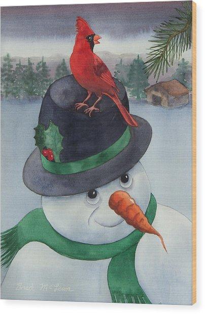 Frosty Friend Wood Print by Brad McLean
