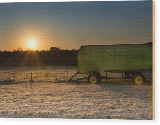 Frosty John Deere Sunrise Wood Print