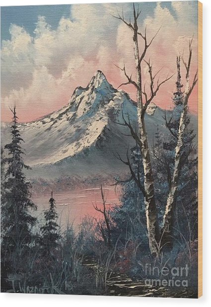 Frosty Mountain  Wood Print