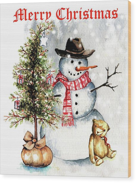 Frosty The Snowman Greeting Card Wood Print