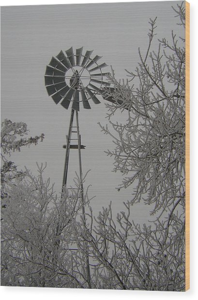 Frosty Windmill Wood Print by Deena Keller
