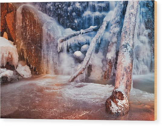 Frozen Avalon Fantasy Falls Wood Print
