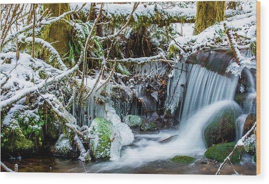 Frozen Creek Wood Print