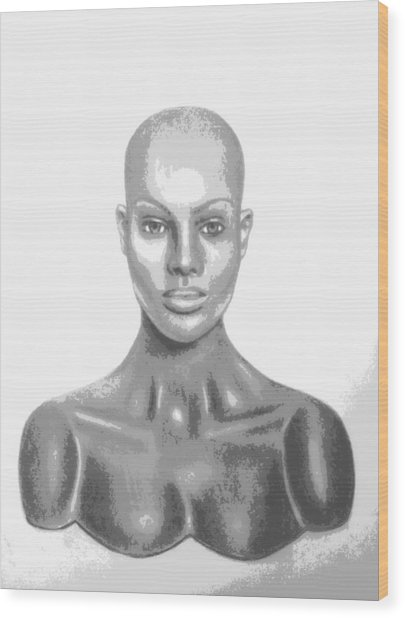 Bald Superficial Woman Mannequin Art Drawing  Wood Print
