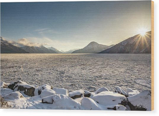 Frozen Fjord Sunrise Wood Print
