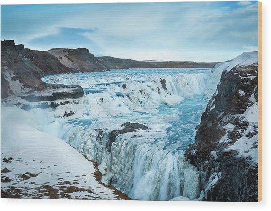 Frozen Gullfoss Wood Print