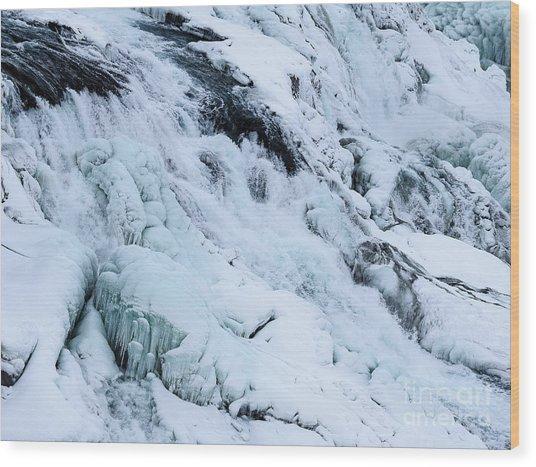 Frozen Gullfoss In Winter Wood Print