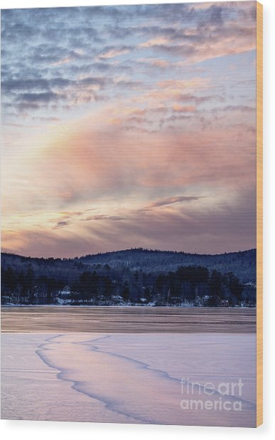 Frozen Lake Sunset In Wilton Maine  -78096-78097 Wood Print