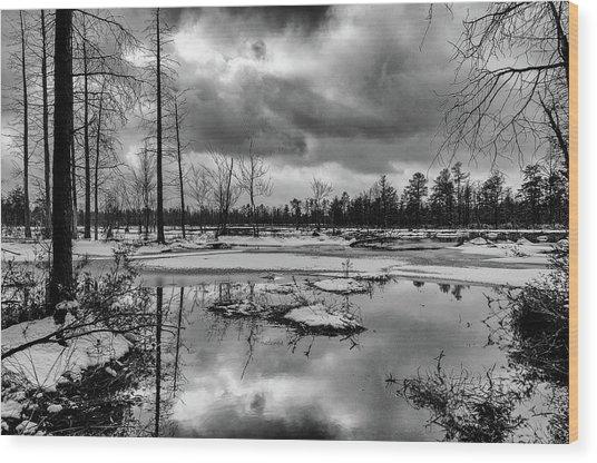 Frozen Mullica River Wood Print