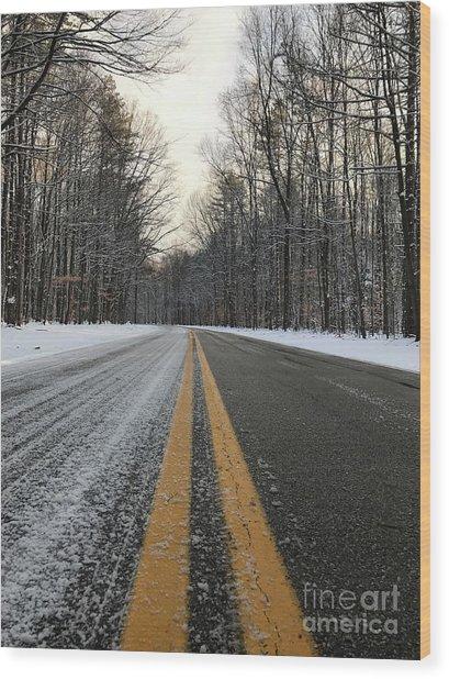 Frozen Road In Life Wood Print by Michael Krek
