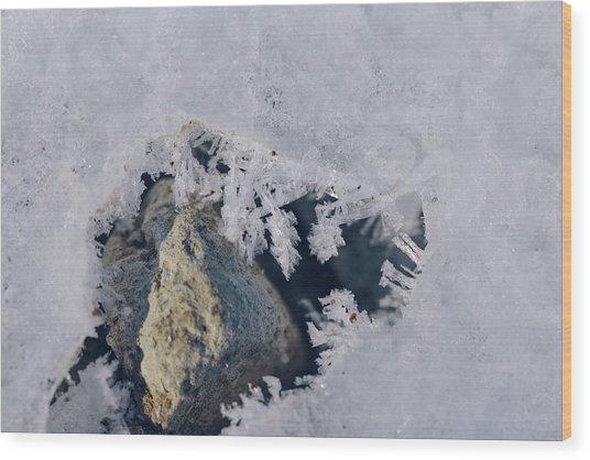 Frozen Rock Wood Print