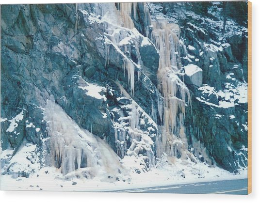 Frozen Waterfall Wood Print
