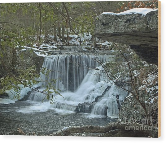 Frozen Waterfalls Wood Print
