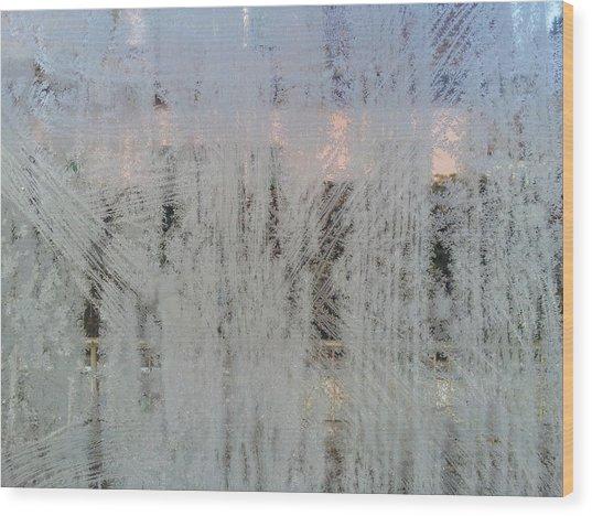 Frozen Window Wood Print