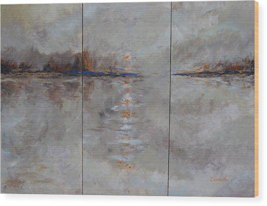 Frozern Fog Triptych Wood Print by Beth Maddox