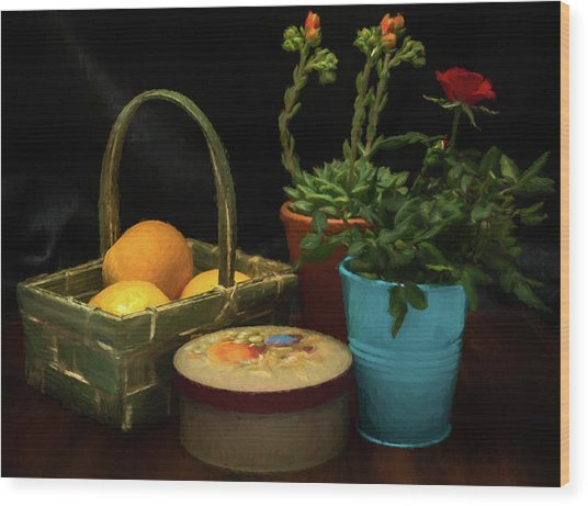 Fruit And Flowers Still Life Digital Painting Wood Print