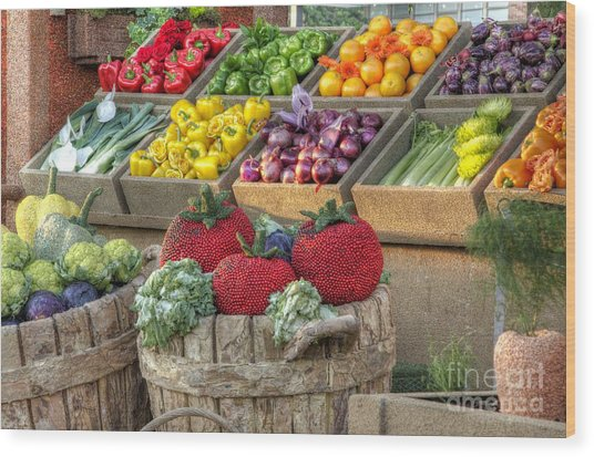 Fruit And Veggie Display Wood Print