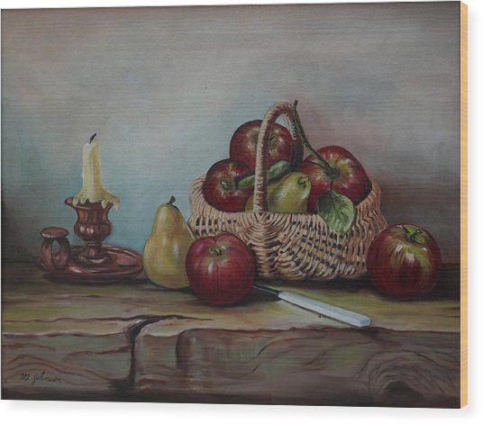 Wood Print featuring the painting Fruit Basket - Lmj by Ruth Kamenev