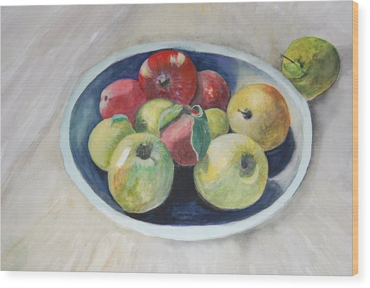 Fruit Bowl For Health Wood Print by Janna Columbus