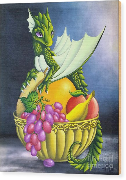 Wood Print featuring the painting Fruit Dragon by Mary Hoy