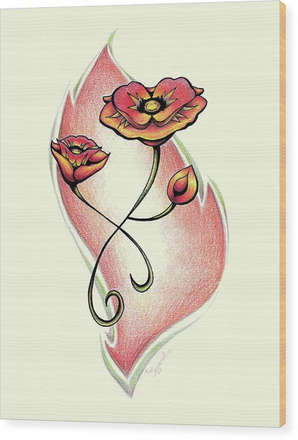 Vibrant Flower 1 Poppy Wood Print