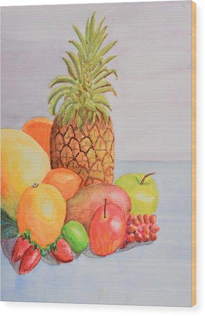 Fruit On Table Wood Print