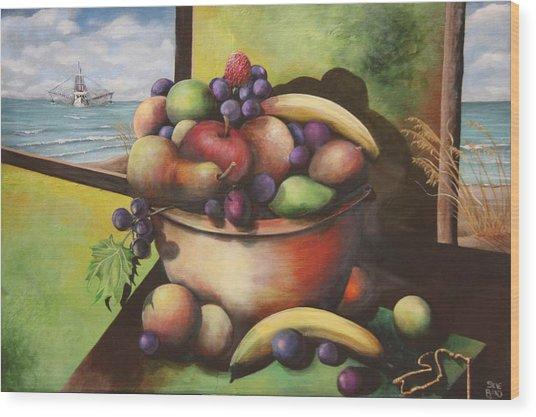 Fruit On The Beach Wood Print