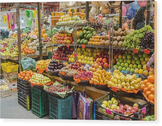 Fruit Stall In A Guanajuato Market, Wood Print