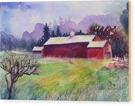 Wood Print featuring the painting Fruitlands Museum II by Priti Lathia