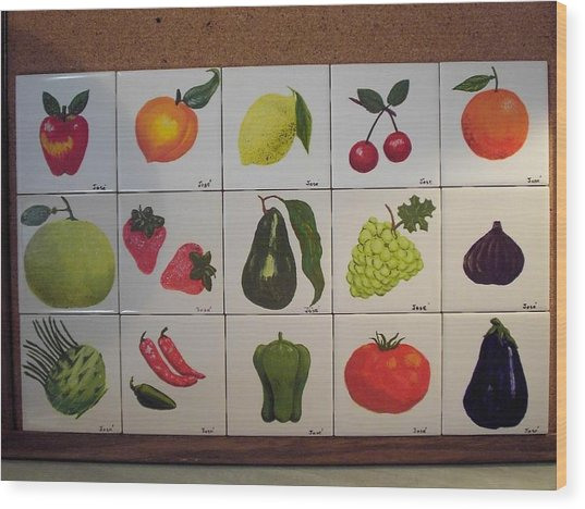 Fruits And Vegetables Wood Print