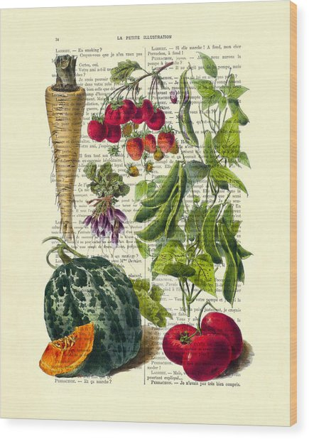 Fruits And Vegetables Kitchen Decoration Wood Print