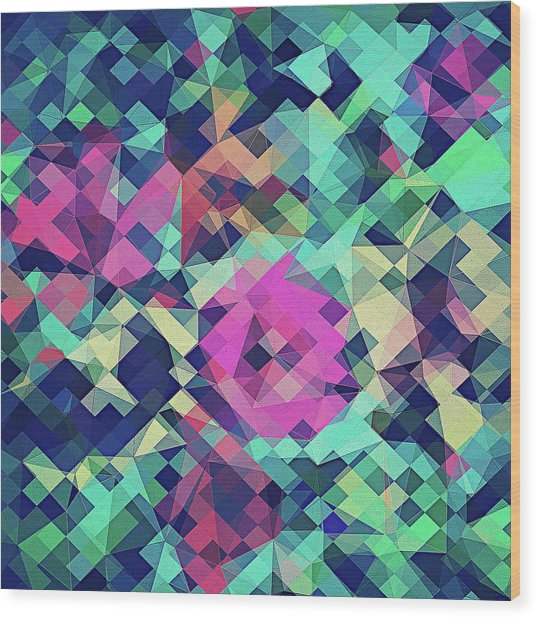 Fruity Rose   Fancy Colorful Abstraction Pattern Design  Green Pink Blue  Wood Print