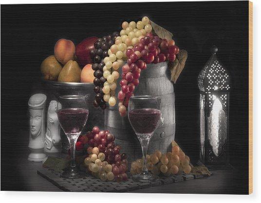 Fruity Wine Still Life Selective Coloring Wood Print by Tom Mc Nemar