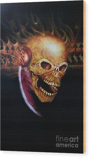 Fsu Flamming Skull Wood Print