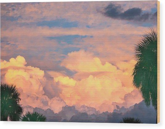 Ft De Soto Sunset Clouds Wood Print