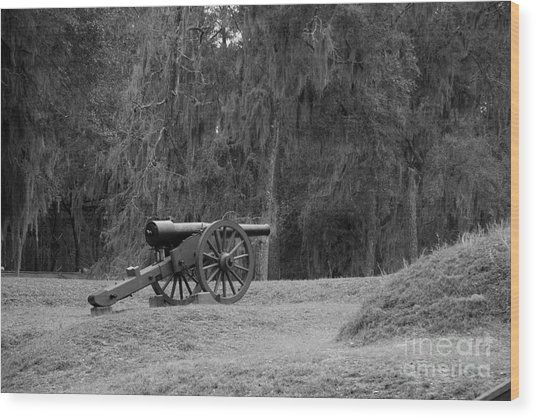Ft. Mcallister Cannon 2 Black And White Wood Print