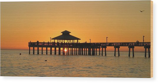 Ft. Myers Pier Wood Print