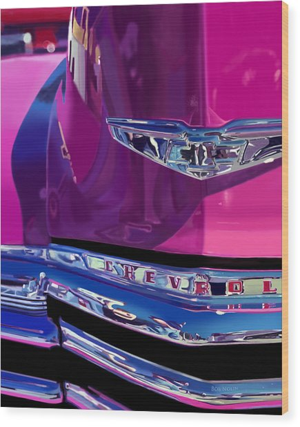 Wood Print featuring the digital art Fuchsia And Chrome by Bob Nolin
