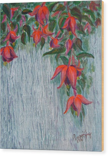 Fuchsia On The Fence Wood Print