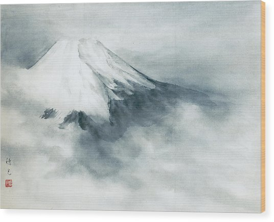 Fuji - Fresh Snow Wood Print by Suiko Sakurai