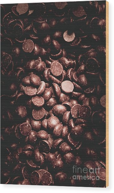 Full Frame Background Of Chocolate Chips Wood Print