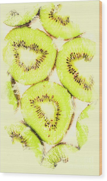 Full Frame Shot Of Fresh Kiwi Slices With Seeds Wood Print