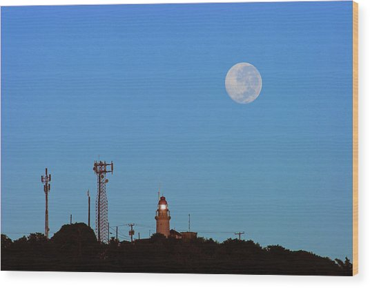 Full Moon And Lighthouse- St Lucia Wood Print by Chester Williams