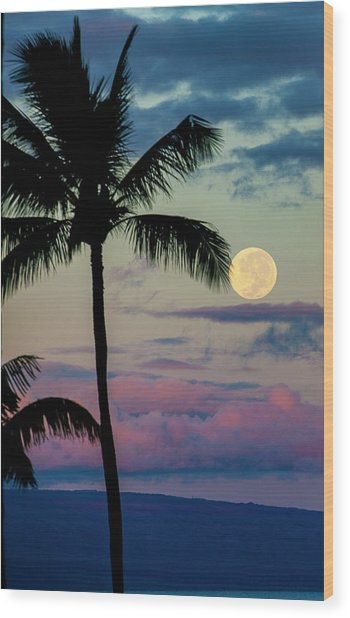 Full Moon And Palm Trees Wood Print