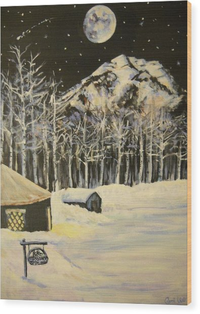 Full Moon At The Sundance Nordic Center Wood Print