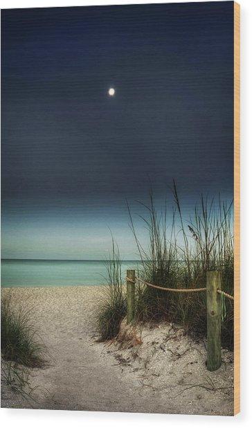 Full Moon Beach Wood Print