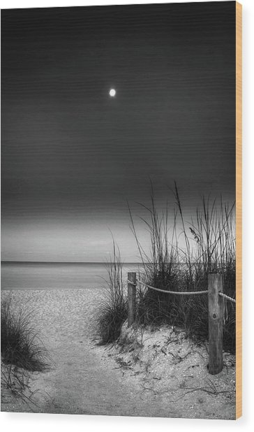 Full Moon Beach In Black And White Wood Print