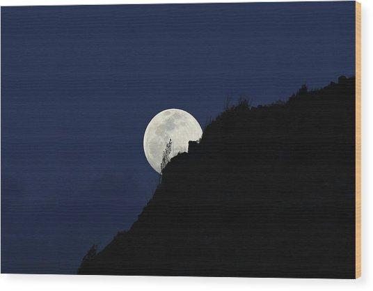 Full Moon Behind Makapu'u Wood Print